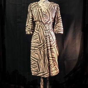 Banana Republic Peach Brown Wrap Dress 3/4 Sleeves